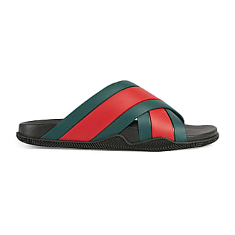 Gucci Mens rubber slide sandal with Web
