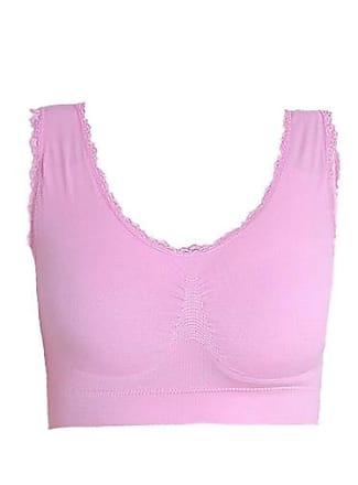 Abetteric Sutiã de ioga sem costura Abetteric plus size com acabamento em renda, rosa, US 2X-L=China 3XL