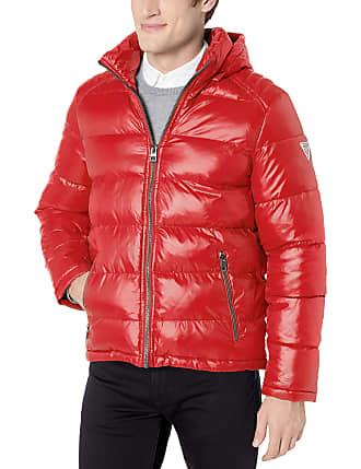 GUESS Mens Lightweight Puffer Jacket with Hood