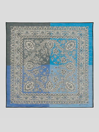 Wide Paisley Design Pocket Square on Light Blue with Square Quilt Block Borders with Light Yellow Details