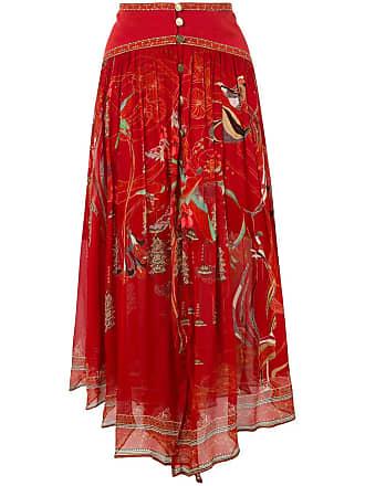 Camilla Saia assimétrica midi em seda - Vermelho
