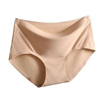 Abetteric Calcinha feminina de algodão sem costura, pacote com 3 calcinhas, Nude, Medium