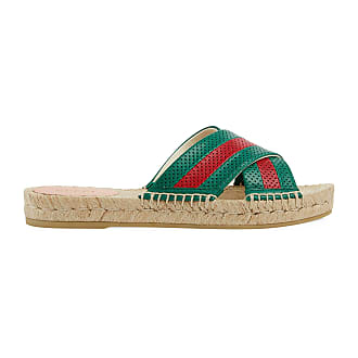 Gucci Womens leather slide sandal with Web