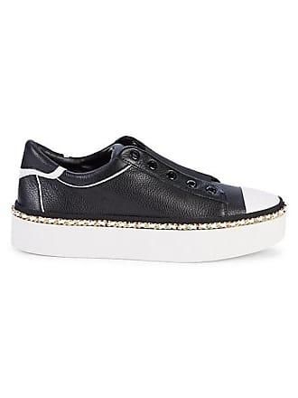 Karl Lagerfeld Axelle Pebbled Leather Slip-On Platform Sneakers