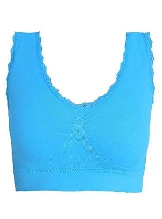 Abetteric Sutiã de ioga sem costura Abetteric plus size com acabamento em renda, Azul, US 2X-L=China 3XL