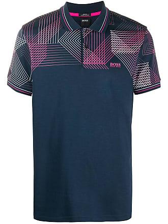 BOSS Camisa polo com estampa gráfica - Azul