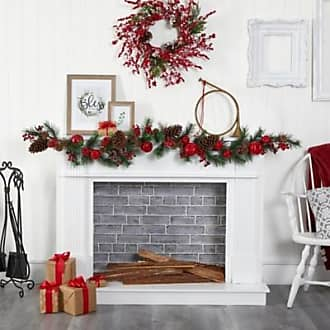 TURNMEON 6 Foot Christmas Red Berry Garland Decoration with 304 Red Berries 105 Leaves 5 Pine Cone Artificial Garland Xmas Decoration Indoor Home Mantle Fireplace Holiday Decor
