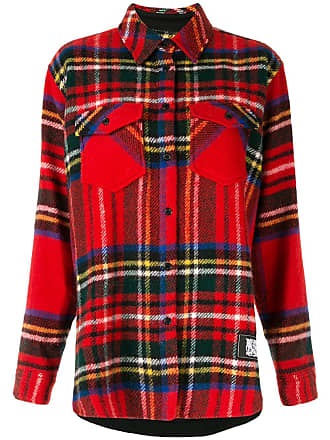 We11done Camisa oversized xadrez - Vermelho