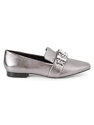 Karl Lagerfeld Nyra Embellished Metallic Leather Loafers